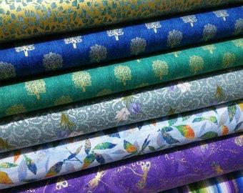 SALE, Bundle, 7 prints, Gold Metallic, Bundle, 1 of each print, quilt cotton, (Reg 26.53-136.43)