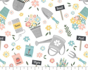 Gardening, Wish for Rain, 89191001, col 01, Camelot Fabrics, 100% Cotton
