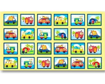 """SALE, Panel, 24 prints, Camping, 24"""" X 44"""", (60cm x 115cm), 3867P, Jungle Camp, Studio E, Multiple quantity cut 1 piece, (Reg 13.15)"""