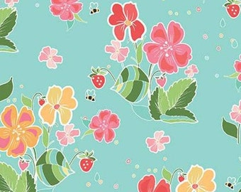 Flower, Bee, Strawberry Honey, C10240, AQUA, Riley Blake, cotton quilt, cotton designer