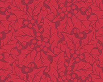 SALE, Fabric, Cotton, Leaves, red, Winter Rose, 9423, Andover, (Reg 3.76-21.91)