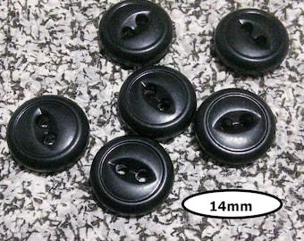 6 Buttons, 14mm, black, 2 holes, BTN 22A
