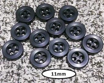12 Buttons, 11mm, BLACK, reflet blue, 4 holes, plastic, résin, BTN 13 B
