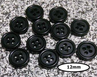 12 Buttons, 12mm, BLACK, 4 holes, vintage button, BTN 14 C