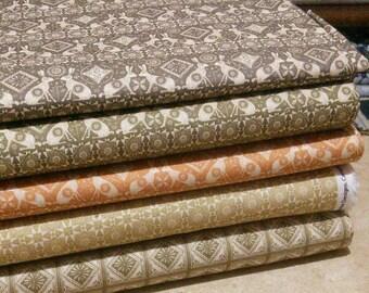 SALE, Bundle, 5 prints, Home on the Prairie of Camelot Fabrics, Quilt cotton, (Reg 18.80-97.45)