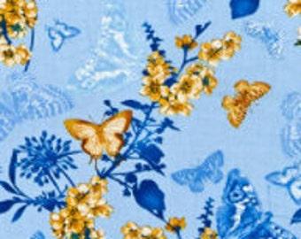 Butterfly Belle Blue, Maison des Fleurs, 7903, col 50, Benartex, 100% coton