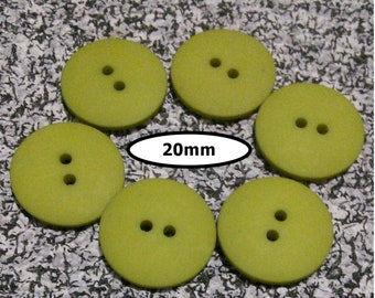 6 Buttons, 20mm, OLIVE GREEN, button 2 holes, BTN 117A
