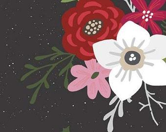 Holly Holiday, Riley Blake Designs, Christmas fabric 100% cotton, #10880 CHARCOAL