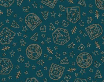 Fabric badge pattern 100% cotton, #10465 NAVY, variable sizes - Camp Woodland of Riley Blake
