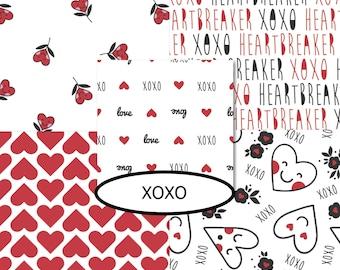 5 prints, XOXO, Camelot Fabrics,  bundle, 1 of each