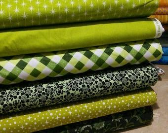 SALE, Bundle, 6 designs, Green cotton, 1 of each design, (Reg 22.55-116.94)