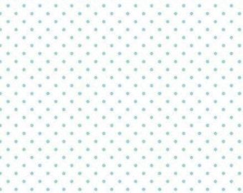 White, aqua, Swiss Dot, 660, Riley Blake, cotton quilt, cotton designer, (Reg 3.76-21.91)