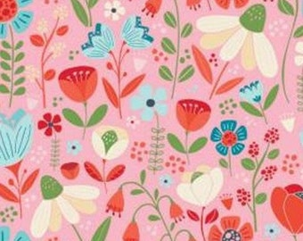 Flowers, tulip, pink background, 61190302, col 01, Enchanted Forest, Camelot Fabrics, 100% Cotton