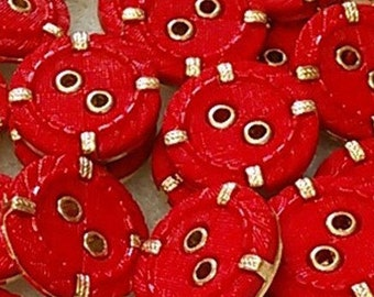 6 buttons, Red and golden, 19mm, (3/4 inch), 2 holes, plastic, resin, BM19