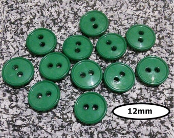 12 Buttons, 12mm, GREEN, pastic, 2 holes, BTN 16B