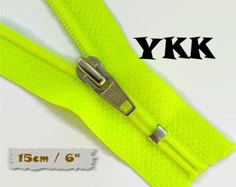 YKK, Zipper, Cursor R, 15cm, Fluorescent Yellow, 6 Inch, Metal Slider, Zipper, Non-Detachable, vintage, 1980, Z04