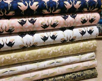 SALE, Bundle of 7 prints, Mistic Crane of Camelot Fabrics, Bundle, 1 of each print, (Reg 26.53-136.43)