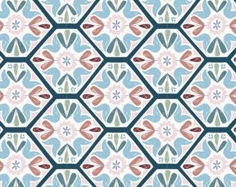 Mosaic tiling, Turtle Cove, 21190604, col 01, Camelot Fabrics, 100% Cotton