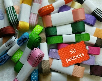 50 ribbons, SURPRISE, various colors, various sizes, let go your imagination with these fun kits, 50 différents
