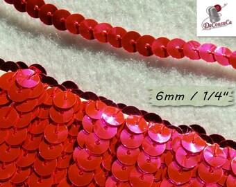 "4 yards, Sequin ribbon, metallic fuschia, sequin, braid, 6mm, (1/4 ""), RB02"