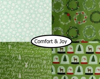 SALE, 4 prints, Comfort and Joy, Riley Blake, bundle, 1 of each  , (Reg 15.04-77.96)