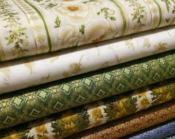 SALE, Bundle, 7 prints, Flower Gold Metallic, Bundle, 1 of each print, quilt cotton, (Reg 26.53-136.43)
