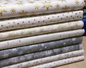 SALE, Bundle, 8 motifs, Silver, Gold, white, gray, quilt cotton, (Reg 30.08-136.43)