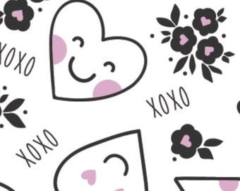 Pink smile heart, white background, XOXO, 21190701, col 02, Camelot Fabrics, cotton, cotton quilt, cotton designer