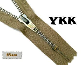 YKK, 15cm, Beige, Zipper, Cursor V, 6 Inch, Metal, Zipper, Non-Detachable, vintage, 1980, Z16