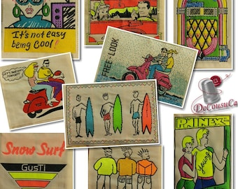Badge vintage, sew-on woven badge, washable, drycleanable,