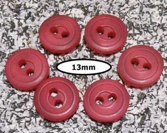 6 buttons, 13mm, PINK FUSCHIA, 2 holes, lucite solid, vintage, BTN 95