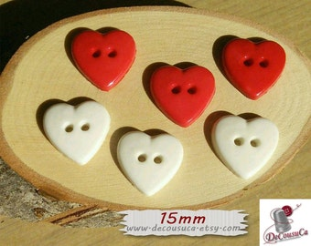 6 buttons heart, 15mm, Heart, Red, White, vintage,  BF07
