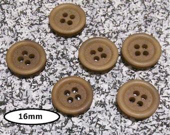 6 buttons, 16 mm, LIGHT BROWN, 4 holes, vintage button, BTN 33D