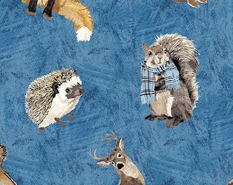 Fabric animals 100% coton, #9748 BLUE, variable sizes - Woodland Winter de Andover