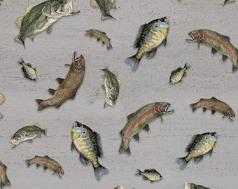 Fabric trout pattern 100% cotton, #10552 GRAY, variable sizes - At The Lake of Riley Blake