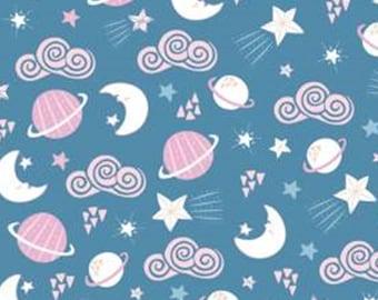 Planets, blue, 61180302, col 03, Celestial Zodiac, Camelot Fabrics, cotton, cotton quilt, cotton designer