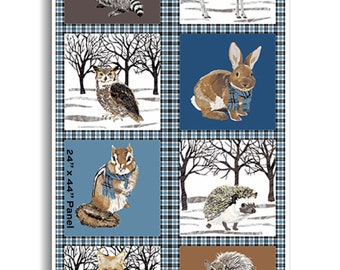 "Panel, 24""X44"", Animals fabric, #9747 - Woodland Winter d'Andover"