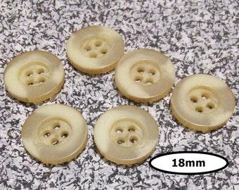 6 Buttons, 18mm, BEIGE, button 4 holes, BTN 70A