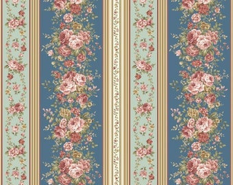 Fabric, Border Stripe Teal, Zelie Ann, #06718, 84, Benartex, 100% cotton, cotton quilt, cotton designer