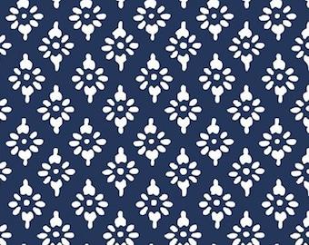 Hannah geo, navy, 71180306, col 03, By The Sea, Laura Ashley, Camelot Fabrics, 100% Cotton
