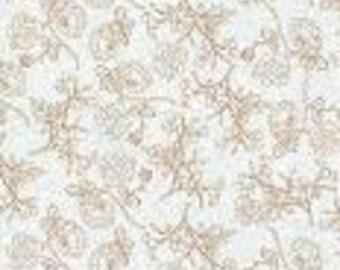 Flower, white, gold metallic, 8654, Midnight Rose, Riley Blake, 100% Cotton