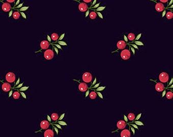 SALE, Fabric, Cotton, Berry, black, Winter Rose, 9420, Andover, (Reg 3.76-21.91)