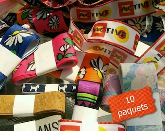 Kit 10 prints ribbons, SURPRISE, various prints, various sizes, let go your imagination with these fun kits, 1980