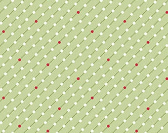 Fabric, Cotton, Green, white, red Winter Rose, 9424, Andover