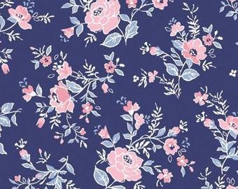 Burst of roses, bleu, Summer Days, Laura Ashley, 71190301, Camelot Fabrics, cotton, cotton quilt, cotton designer