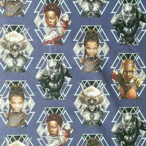 Marvel Black Panther Pre Cut Fabric   2 Pairs Free Mask Elastic and nose bridge strips with every Pre Cut Fabric Purchase!