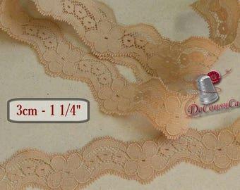 Lace vintage, Beige, zigzag, 3cm, 30mm, 1 1/4 inch, DT49