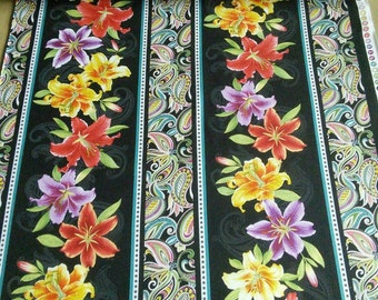 Fabric, Border Stripe Black/Multi, Lilyanne, #06721, 99, Benartex, 100% cotton, cotton quilt, cotton designer