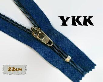 YKK, 22cm, Zipper, Cursor 45C, 15cm, Navy, 8 3/4 Inch, Metal Slider, Zipper, Non-Detachable, vintage, 1980, Z04