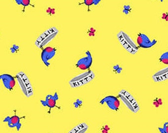 Bird, Kitty, yellow, Day Dreamers, 7175-33, Henry Glass & Co, 100% Cotton